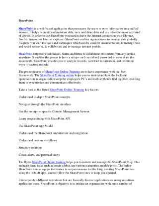 SharePoint Online Training Courses – Bytes Online Training