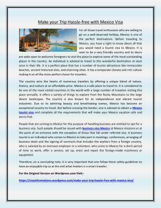 Make your Trip Hassle-free with Mexico Visa
