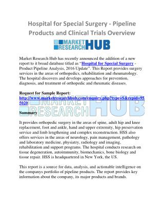 Hospital for Special Surgery - Pipeline Products and Clinical Trials Overview