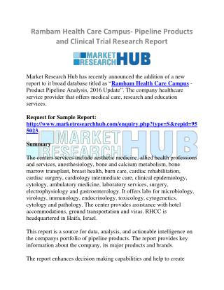 Rambam Health Care Campus- Pipeline Products and Clinical Trial Research Report