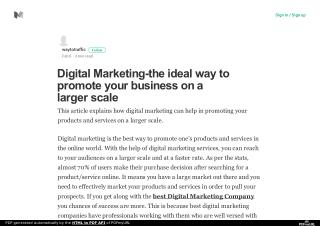 Digital Marketing-the ideal way to promote your business on a larger scale