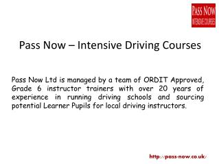Pass Now - Intensive Driving Courses