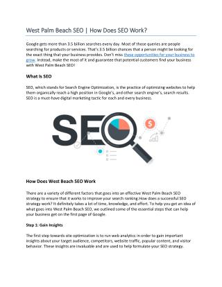 West Palm Beach SEO | How Does SEO Work?