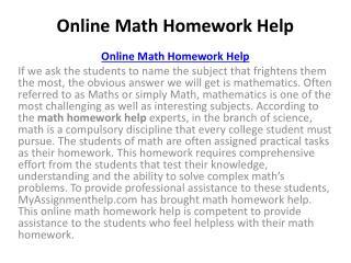 Maths Coursework Help Online