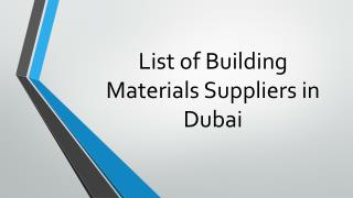 List of Building Materials Suppliers in Dubai