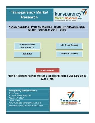 Flame Resistant Fabrics Market Expected to Reach US$ 6.56 Bn by 2024