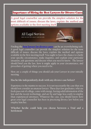 Importance of Hiring the Best Lawyers for Divorce Cases