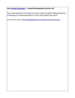 Hire Laravel Developer – Laravel Development Services UK