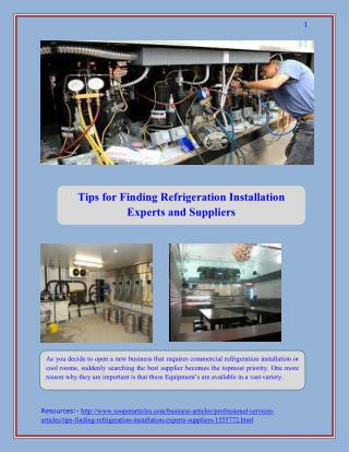 Tips for Finding Refrigeration Installation Experts and Suppliers