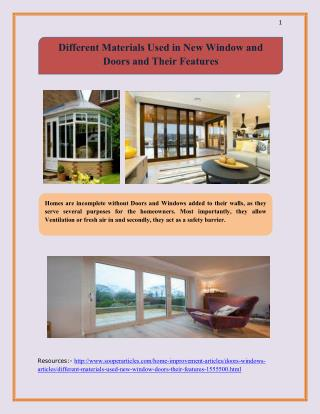 Different Materials Used in New Window and Doors and Their Features
