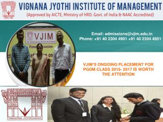 VJIM'S ONGOING PLACEMENT FOR PGDM CLASS 2015- 2017 IS WORTH THE ATTENTION