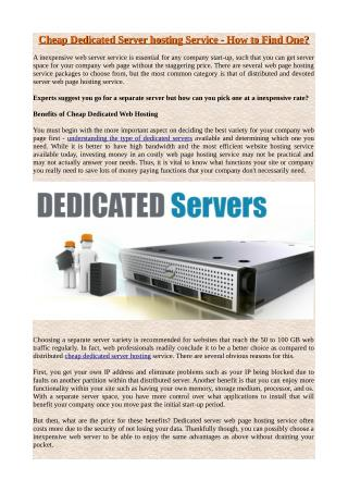 Cheap Dedicated Server hosting Service - How to Find One?