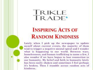Inspiring Acts of Random Kindness