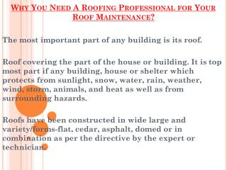 Why Is It Important To Hire A Roofing Professional for Your Roof ?