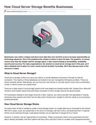 How Cloud Server Storage Benefits Businesses