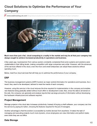 Cloud Solutions to Optimize the Performance of Your Company