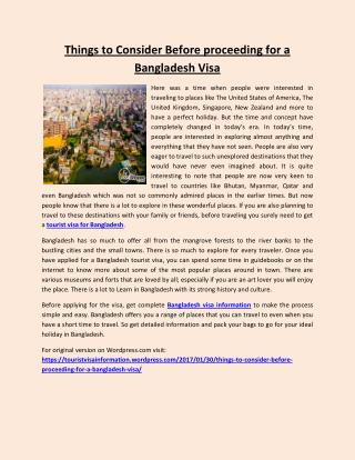 Things to Consider Before proceeding for a Bangladesh Visa
