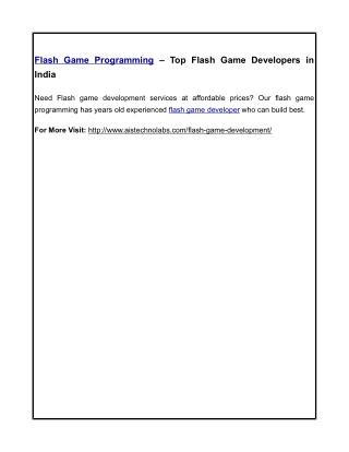 Flash Game Programming – Top Flash Game Developers in India