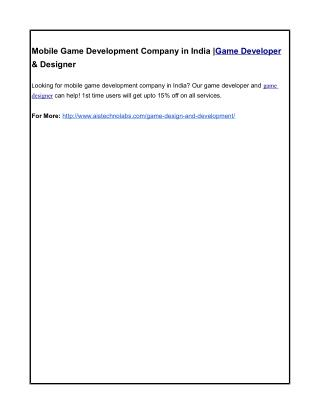 Mobile Game Development Company in India |Game Developer & Designer