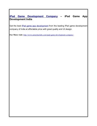 iPad Game Development Company – iPad Game App Development India