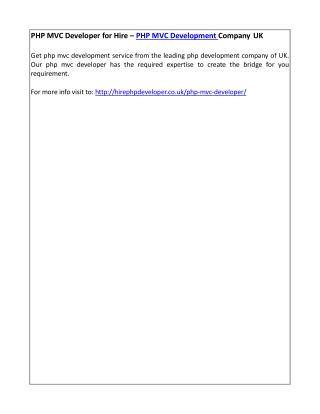 PHP MVC Developer for Hire – PHP MVC Development Company UK