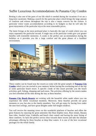 Specifications Regarding Panama City Condos