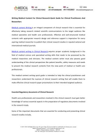 Writing Medical Content for Clinical Research-Quick Guide for Clinical Practitioners and Researchers