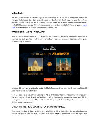 Washington to Hyderabad |Washington-IAD-to-Hyderabad-HYD| Indian Eagle