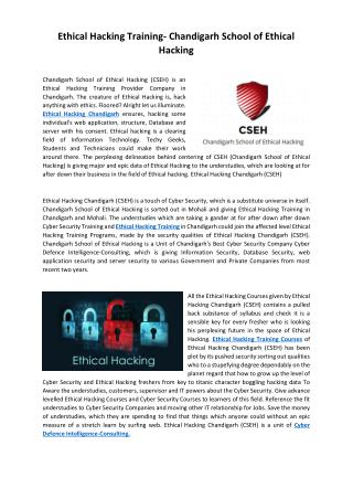 Ethical Hacking Training- Chandigarh School of Ethical Hacking