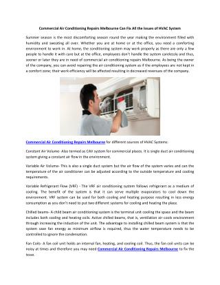 Commercial Air Conditioning Repairs Melbourne Can Fix All the Issues of HVAC System