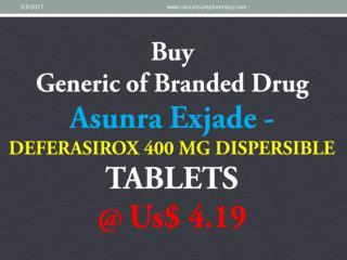 Buy Asunra Exjade Deferasirox 400 Mg @ Us$ 4.19