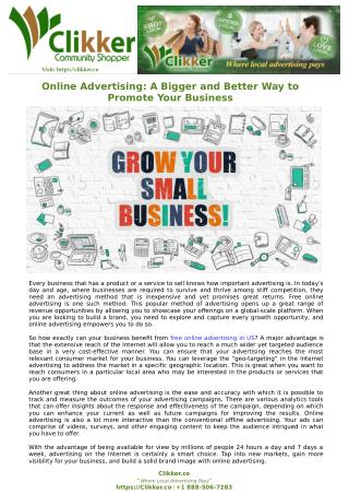 Online Advertising: A Bigger and Better Way to Promote Your Business
