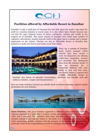 Facilities offered by Affordable Resort in Zanzibar