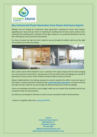 Buy Commercial Steam Generators from Steam And Sauna Experts