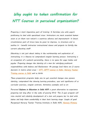 Why ought to taken confirmation for NTT Courses in perceived organization?