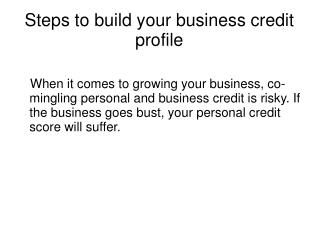 Steps to build your business credit profile