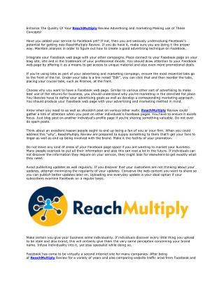 ReachMultiply Review And Bonus