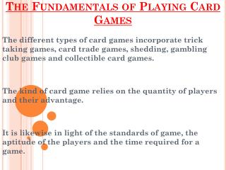 Fundamentals of Playing Card Games