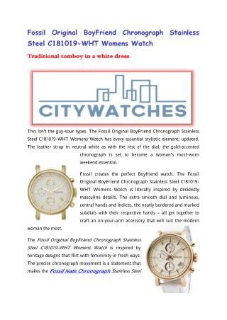 Fossil Original BoyFriend Chronograph Stainless Steel C181019-WHT Womens Watch