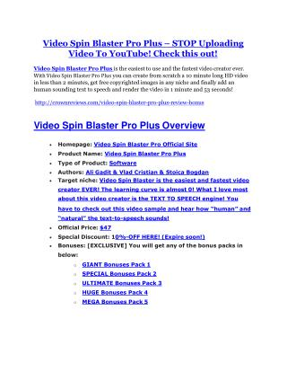 Video Spin Blaster Pro Review and GIANT $12700 Bonus-80% Discount