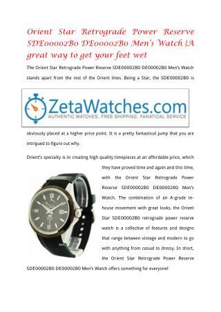 Orient Star Retrograde Power Reserve SDE00002B0 DE00002B0 Men's Watch