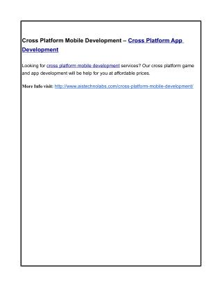 Cross Platform Mobile Development – Cross Platform App Development