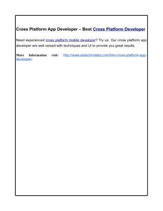 Cross Platform App Developer – Best Cross Platform Developer