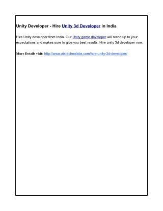 Unity Developer - Hire Unity 3d Developer in India