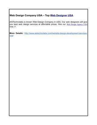 Web Design Company USA – Top Web Designer USA