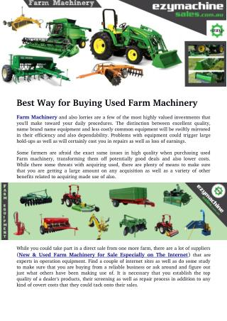 Best Way for Buying Used Farm Machinery