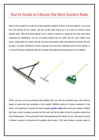 Your guide to choose the best garden rake