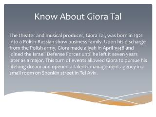 Know About Giora Tal Lifestyle