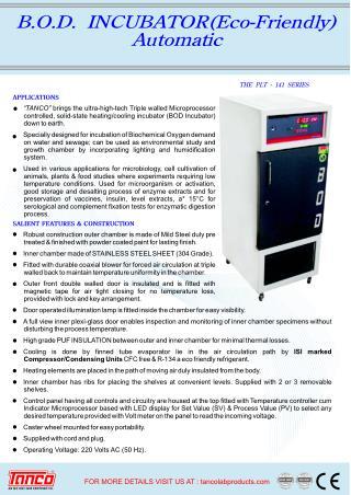 BOD Incubator Manufacturer and Supplier, Tanco, New Delhi