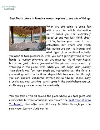 Best Tourist Area In Jamaica awesome place to see lots of things